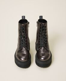Laminated faux leather combat boots with logo Laminated Anthracite Woman 202MCP082-05