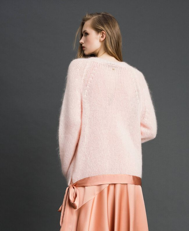 "Mohair jumper with silk blend bow ""Opal"" Pink Woman 192TT3273-03"
