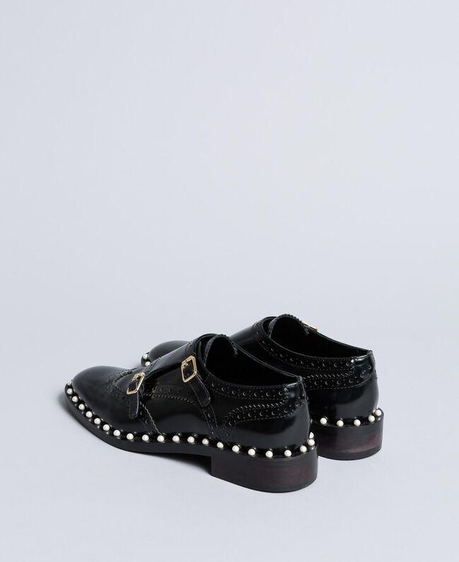 Chaussures à lacets brogues en cuir avec perles Noir Femme CA8PES-03