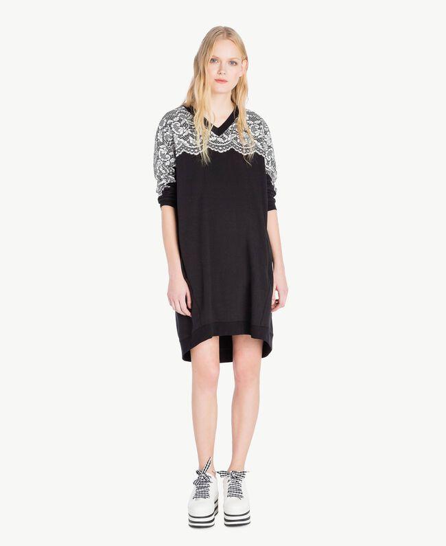 Kleid mit Spitze Schwarz Frau JS82H4-01