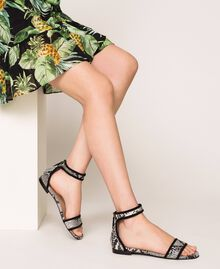 Flat leather sandals with python print Two-tone Pale Rock Python Print / Black Woman 201TCP020-0S