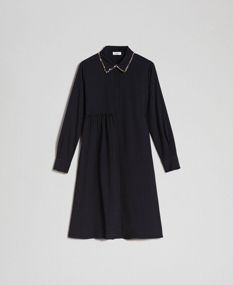 Robe chemisier avec sequins Noir Femme 192ST209C-0S