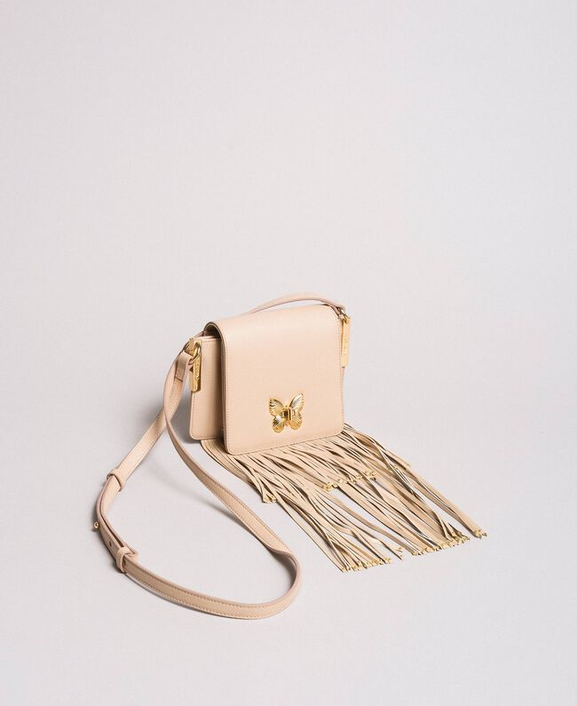 "Leather Bea shoulder bag with fringes ""Marzipan"" Beige Woman 191TO8231-04"