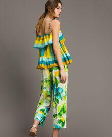 Pantalon en marocaine à imprimé floral Imprimé Jardin Noir Femme 191TT2471-03