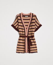 "Cardigan with multicolour lurex stripes Multicolour ""Bronze Powder"" Brown Woman 191LB3ADD-0S"