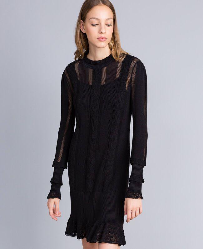 Kleid aus Viskose und Baumwolle mit Spitze Schwarz Frau TA83FB-01