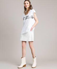 T-Shirt mit Pailletten und Logo Weiß Frau 191TP260E-0T