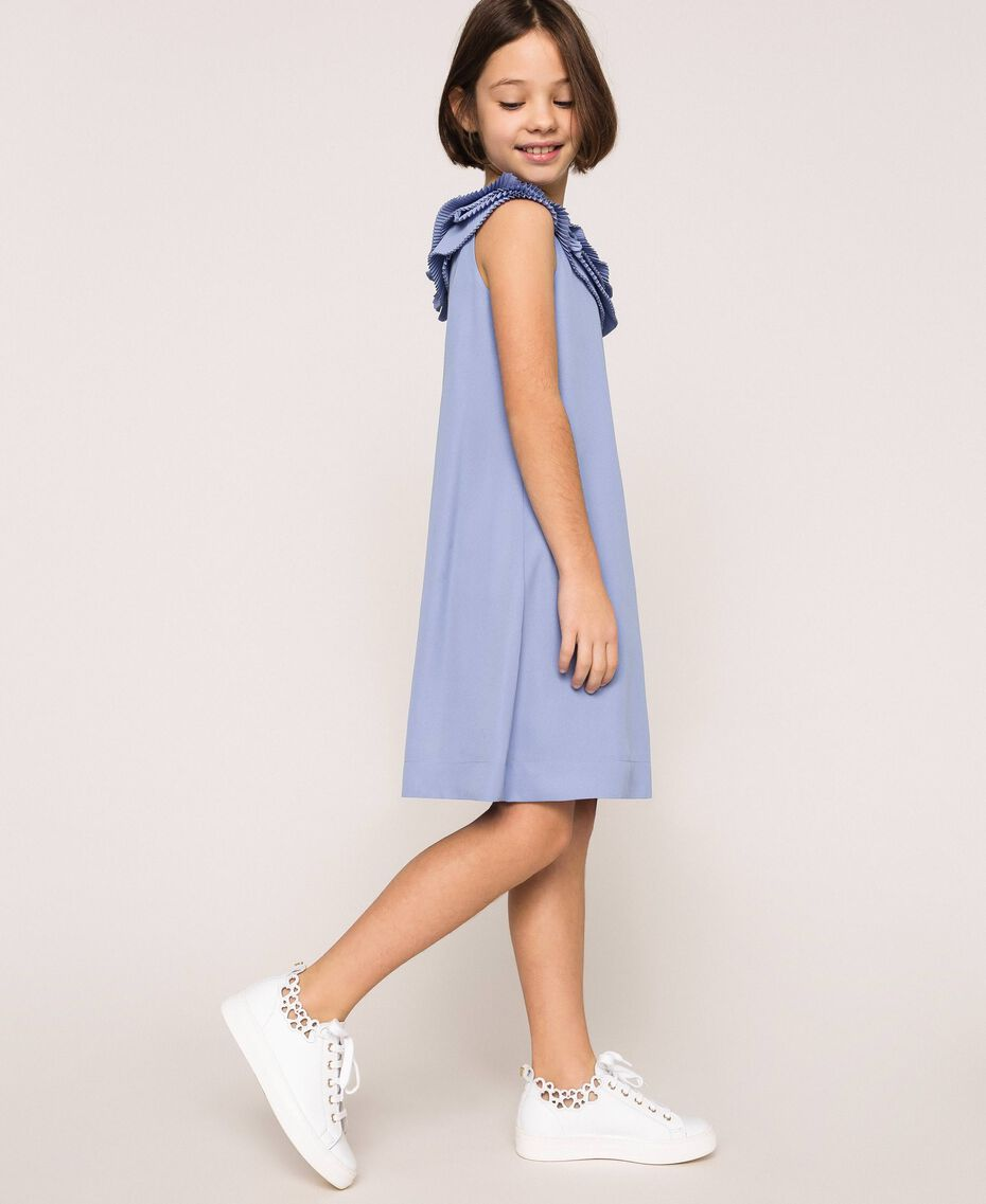"Georgette dress with pleated ruffles ""Ice"" Dark Blue Child 201GJ2QE0-02"