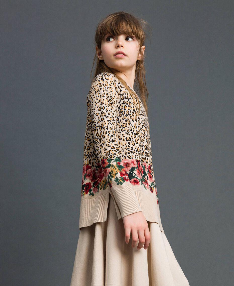 Floral and animal print jumper Leopard Print / Floral Child 192GJ3181-02