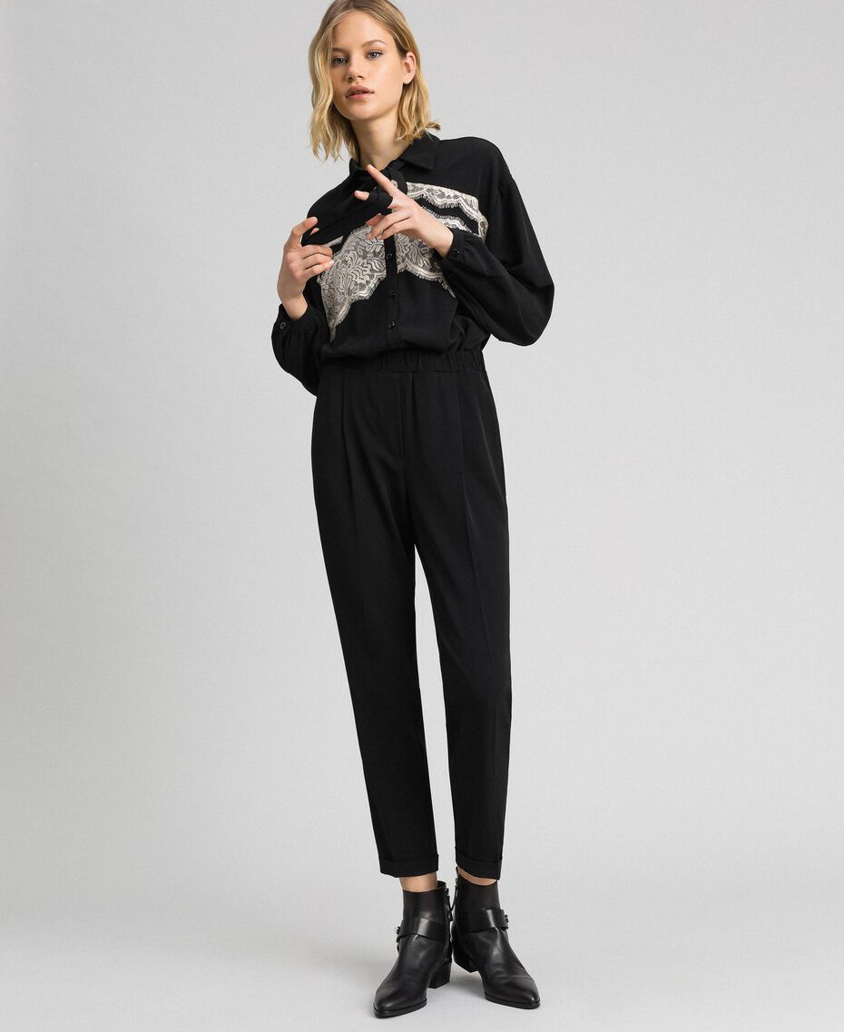 Lace jumpsuit with removable collar Black Woman 192ST2167-02