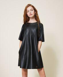 Платье из искусственной кожи со звездочками Черный Pебенок 202GJ2831-05