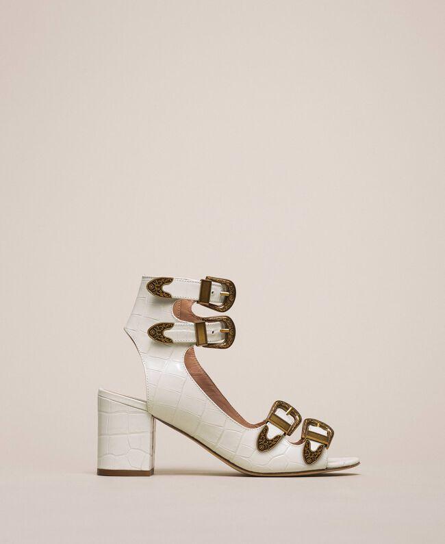 "Leather sandals with crocodile print ""Snow"" White Crocodile Print Woman 201TCP05E-01"