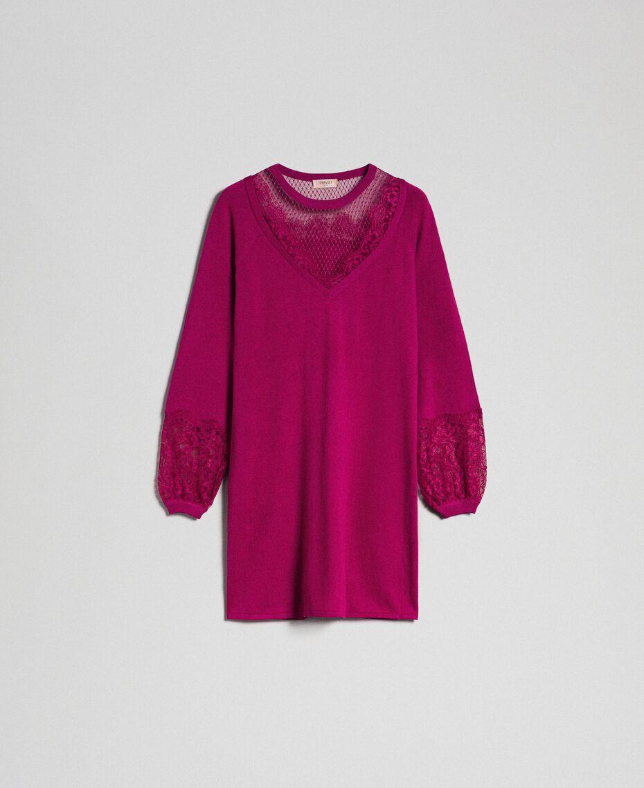 Kleid mit Spitze und Plumetis-Tüll Rote-Bete-Rot Frau 192TP3170-0S