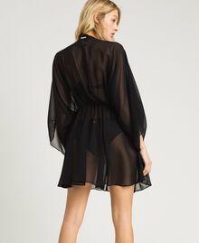Caftan en mousseline de soie avec franges Noir Femme 191LM2BFF-03