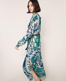 Robe longue en crêpe georgette imprimé paisley Imprimé Paisley Saphir / Bleu Femme 201TP2533-04