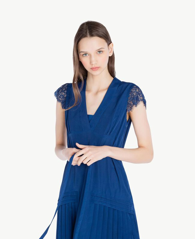 """Kleid mit Spitze """"Navy Peony""""-Blau Frau SS82GQ-04"""