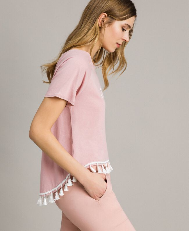 "T-shirt with mini tassels ""Pink Bouquet"" Woman 191LB2CCC-03"
