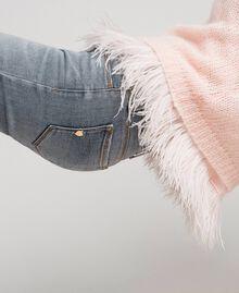 Pull en mohair et top avec plumes Rose «Opale» Femme 192TT3275-04