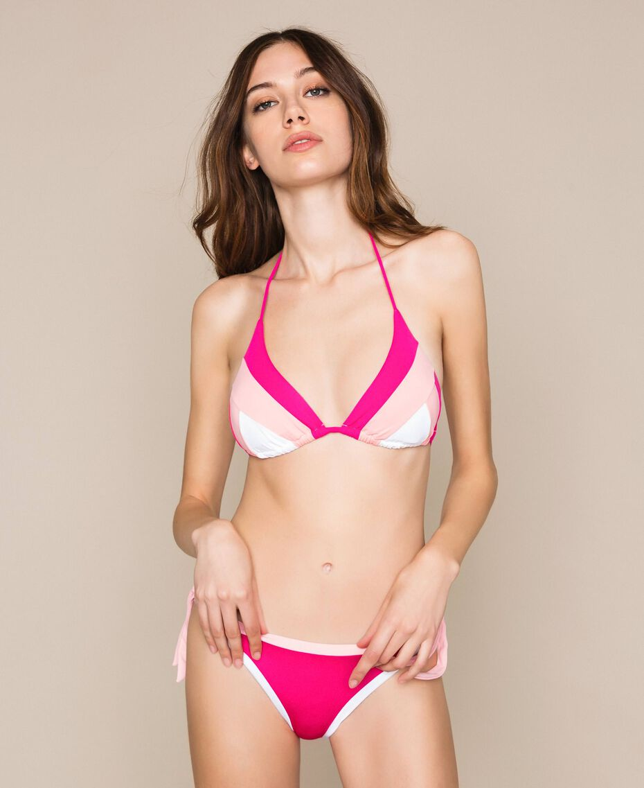 Colour block triangle bikini Multicolour Candy Pink / Shocking Pink / Optical White Woman 201LMMH22-01