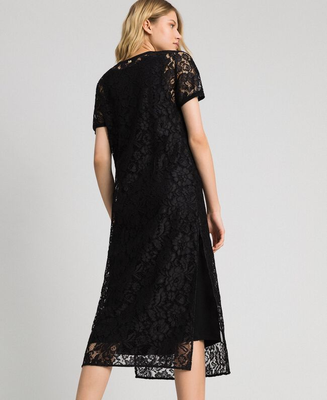 Lace dress with slip Black Woman 192MP2490-03