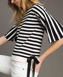 Striped top with bow Black / Ecru Striping Woman 191ST3020-04
