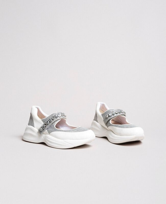 Running shoes with stones White Cream Woman 191MCP03C-03