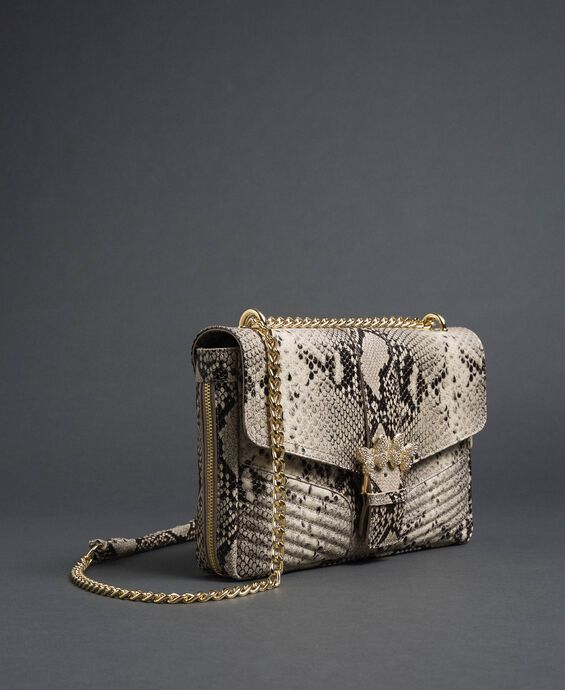 Large Rebel python leather shoulder bag