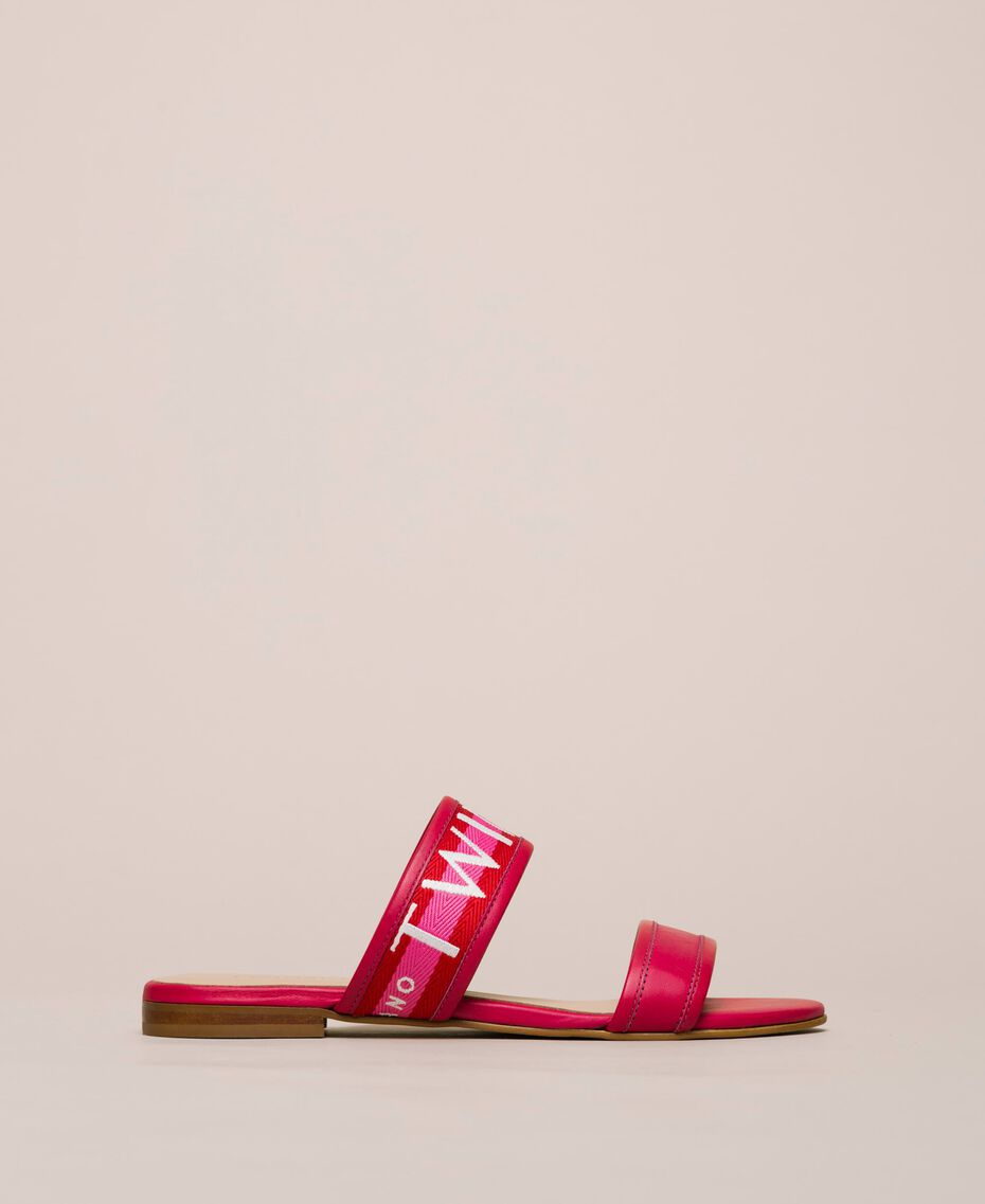 "Leather sliders with logo band Two-tone ""Geranium"" Red / ""Jazz"" Pink Woman 201TCT04J-03"