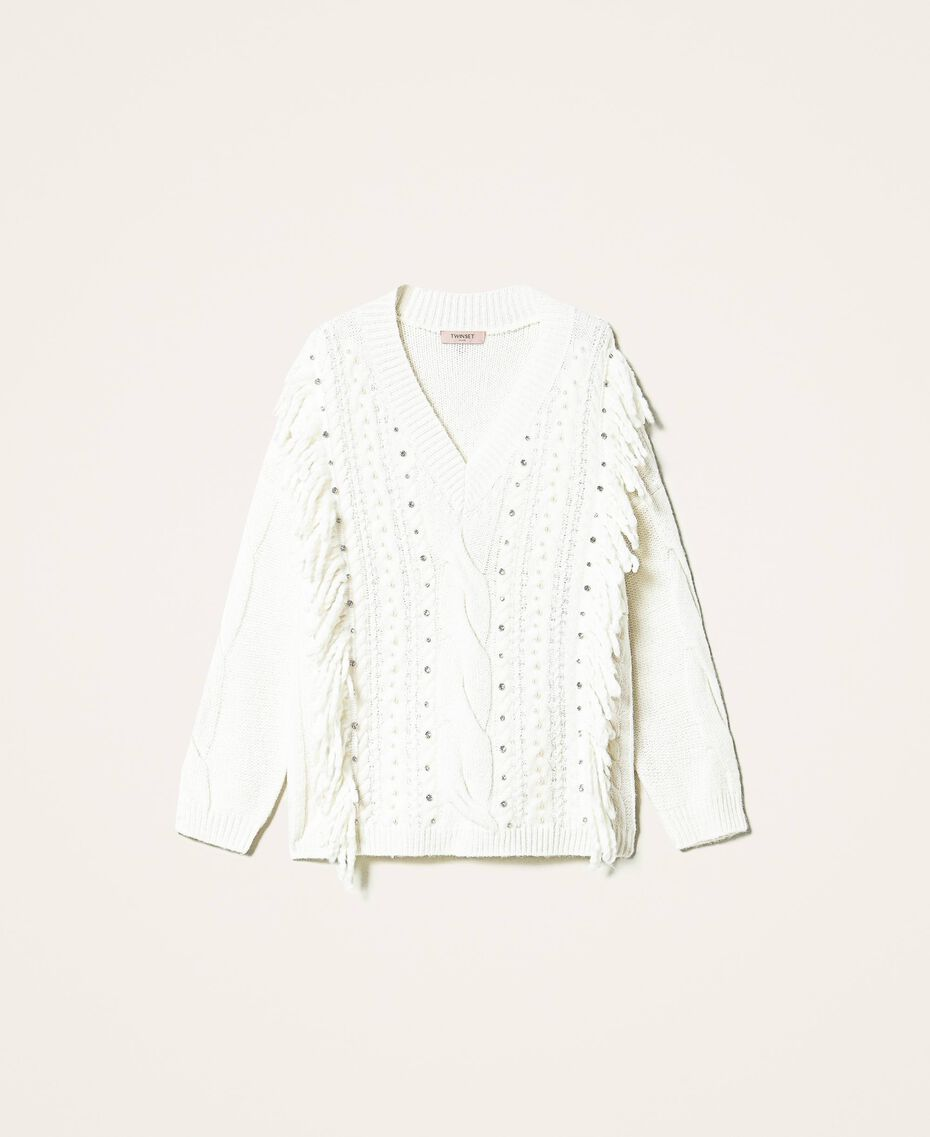 Maxijersey de lana y alpaca con bordado Blanco Nata Mujer 202TT3355-0S