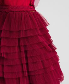 Pleated flounce tulle skirt Ruby Wine Red Child 192GJ2113-04