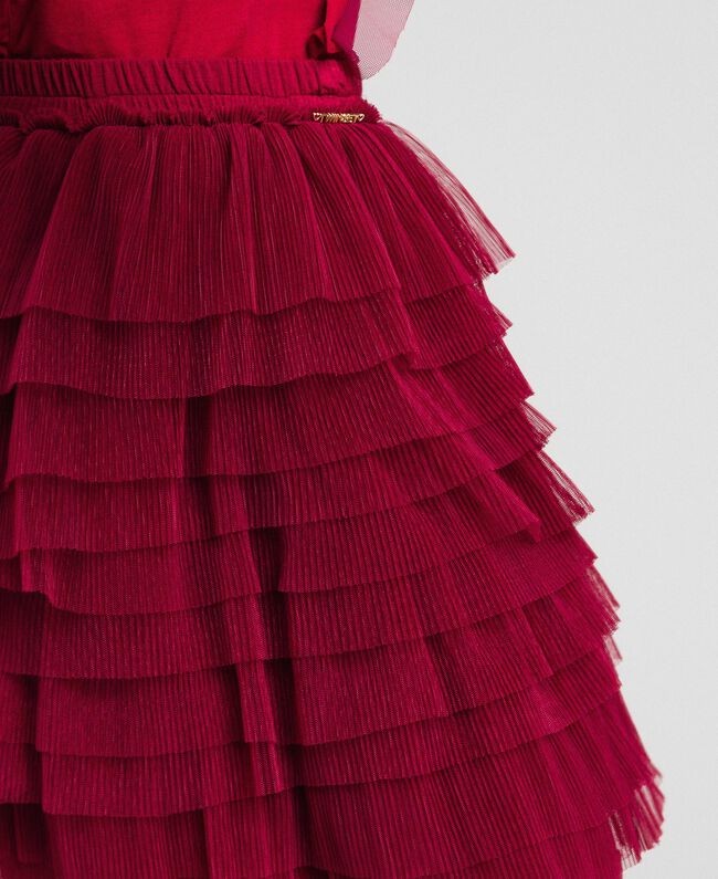 Gonna in tulle a balze plissé Rosso Ruby Wine Bambina 192GJ2113-04