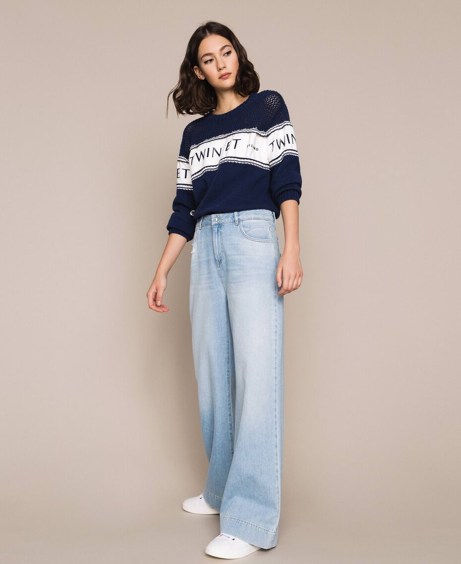 """Jumper with plush and logo inlay Two-tone Night Blue / """"Snow"""" White Woman 201TP3201-02"""