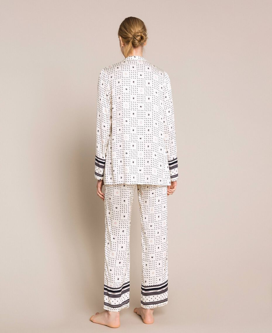 "Satin pyjamas with logo print Two-tone ""Peachskin"" Pink / Black Woman 201LL28AA-03"