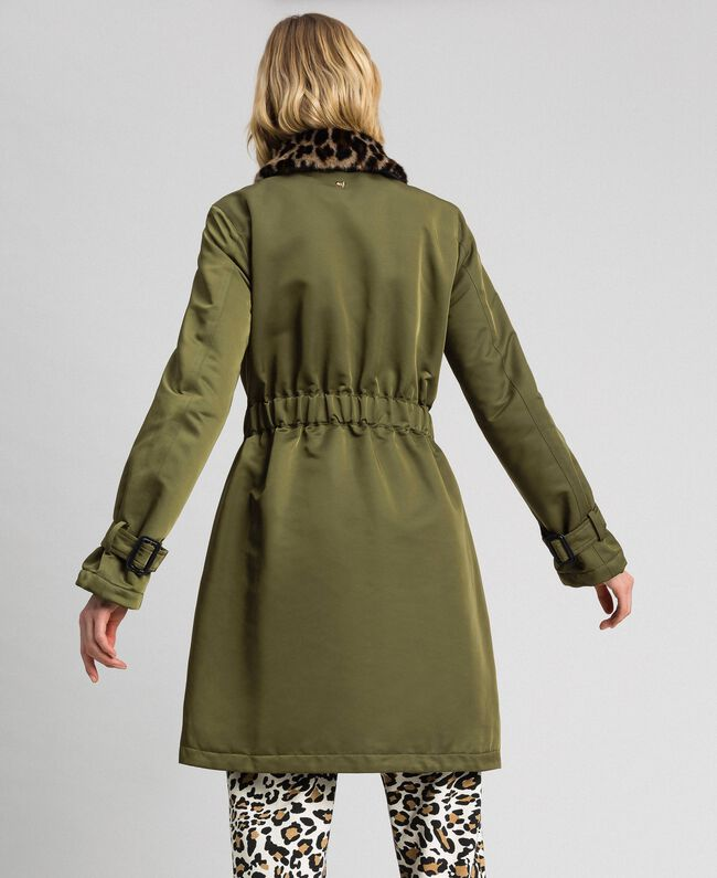 Technical satin coat with animal print collar Green Vetiver Woman 192MP2121-04