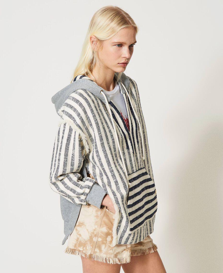 "Oversize striped hoodie ""Ivory Mat"" Grey / Blue Mixed Stripe Woman 211TT2060-02"
