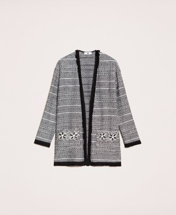 Long tweed jacket with embroidery