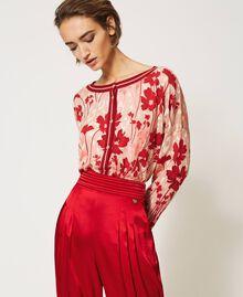 Cardigan-Pullover mit Blumendessin Blumen-Animal-Dessin Pfirsich / Kirschrot Frau 202TP3500-05