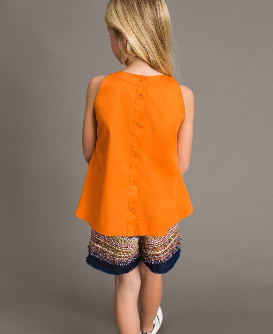 "Top en popeline stretch ""Orange Estivale"" Enfant 191GJ2412-03"