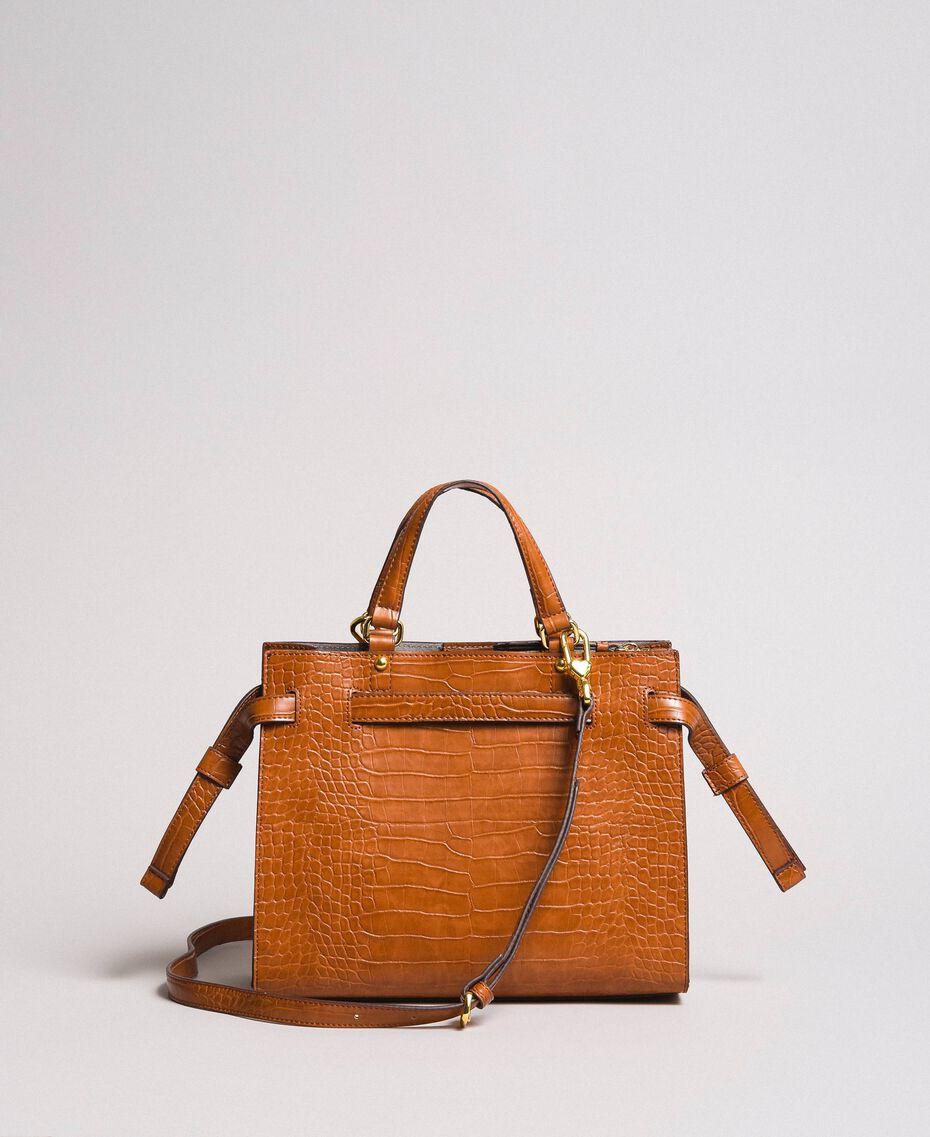 Crocodile print shopper Leather Brown Woman 191TA7122-03