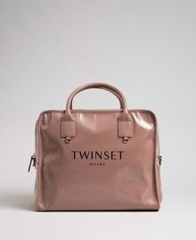 Faux patent leather weekend bag Dusty Pink Woman 192TA7172-03