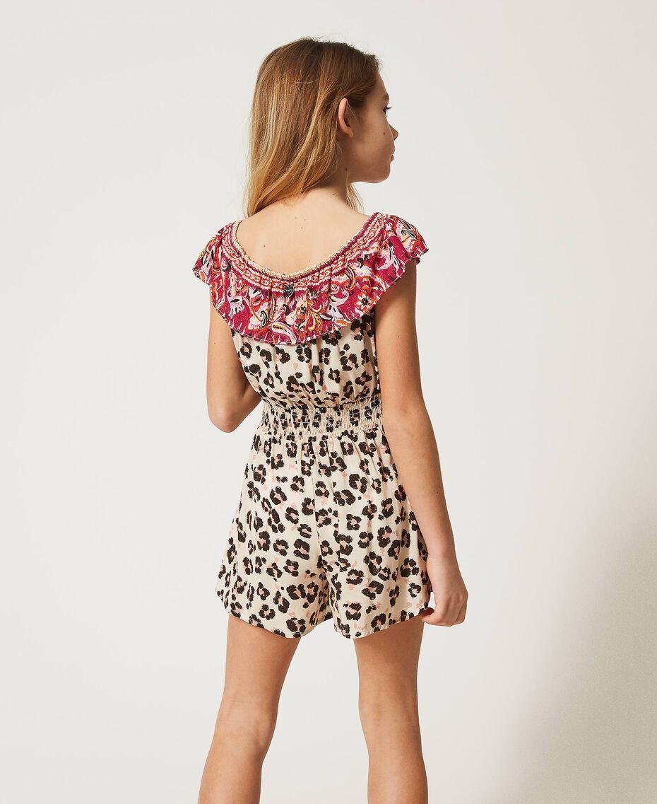 Short animal print jumpsuit Leopard Spot & Paisley Print Child 211GJ2247-03