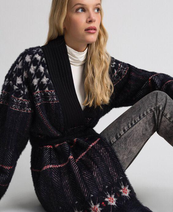 Jacquard knit coat