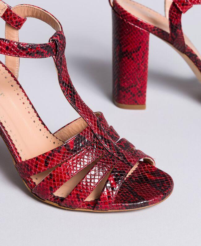 Sandalette aus Animalierleder Schlangenhaut Bordeaux Frau CA8PQ3-04