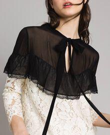 """Macramé lace two-tone dress Bicolour """"Snow"""" White / Black Woman 191TP2256-04"""
