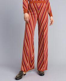 """Pantaloni jacquard a righe lurex multicolor Jacquard Riga Lurex Arancione """"Bruciato"""" Donna TA838A-02"""