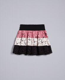 Jupe corolle en dentelle multicolore Multicolore Rose «Blush» / Noir / Roses Enfant GA82QB-01