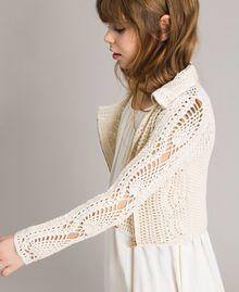 Crochet knitted biker jacket Pale Cream Child 191GJ3QK0-02