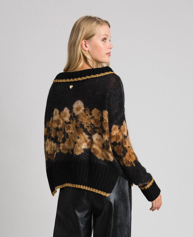 Printed mohair jumper Black Baroque Flower Stripes Mix Print Woman 192TT3332-03