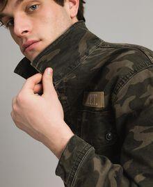 Baumwoll-Hemd mit Camouflage-Aufdruck Motiv Dunkel Camouflage Mann 191UT2020-03