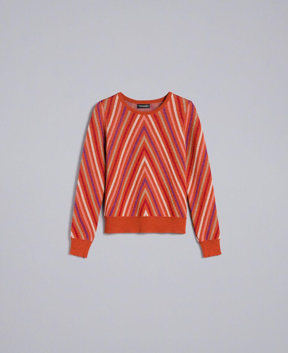 """Maglia jacquard a righe lurex multicolor Jacquard Riga Lurex Arancione """"Bruciato"""" Donna TA838C-0S"""
